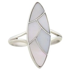 Sterling Silver Mother of Pearl Ring size 8 1/4