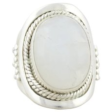 Sterling Silver Moonstone Ring Size 4 3/4