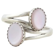 Sterling Silver Mother of Pearl Bypass Band Ring size 7 Adjustable