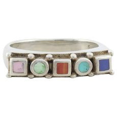 Sterling Silver Blue and Green Turquoise,  Red and  Pink coral, blue lapis lazuli, Band Ring Size 7