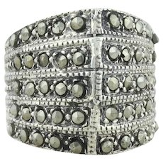 Sterling Silver Large Marcasite Ring size 6 1/2