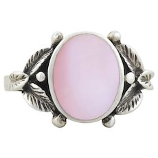Sterling Silver Pink Mother of Pearl Ring size 8 1/4