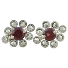 Sterling Silver Garnet and Marcasite Post Stud Earrings