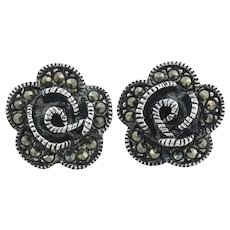 Sterling Silver Marcasite Flower Earrings Stud Post Earrings