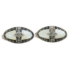 Sterling Silver Marcasite and Mother of Pearl Stud Post Earrings