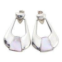 Sterling Silver Mother of Pearl Dangle Drop Earrings