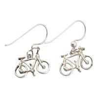 Sterling Silver Bicycle Earrings Dangle Drop Earrings