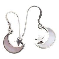 Sterling Silver Mother of Pearl Star & Moon Earrings Dangle Drop Earrings