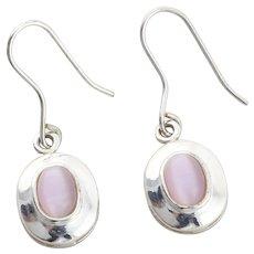 Sterling Silver Pink Cats Eye Quartz Earrings Dangle Drop Earrings