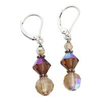 Sterling Silver Yellow and Brown Rhinestone Earrings Dangle Drop Earrings