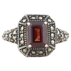Sterling Silver Garnet and Marcasite Ring Size 7 1/4