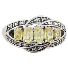 Sterling Silver Yellow Sapphire Ring size 6