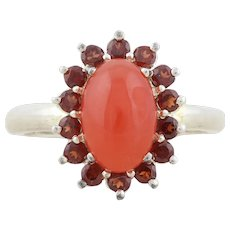Sterling Silver Red Jade and Garnet Halo Ring Size 10 1/4