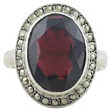 Sterling Silver Garnet and Marcasite Ring Size 5