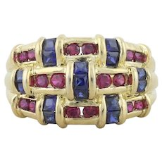 Gold over Sterling Lab Created Ruby and Blue Sapphire Ring size 6 1/4