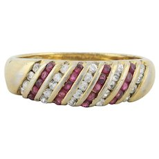 Gold over Sterling Lab Created Ruby and Cz Band Ring size 8