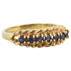 Gold over Sterling Silver Natural Blue Sapphire Band Ring size 7
