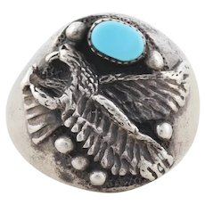 Mens Sterling Silver Eagle Turquoise Ring Size 11 3/4