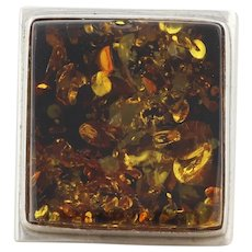 Sterling Silver Amber Ring Size 8 Large Bold Ring