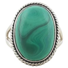 Sterling Silver Large Malachite Ring Size 8 3/4