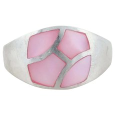 Sterling Silver Pink Mother of Pearl Ring Size 7 3/4