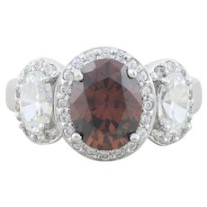 Sterling Silver Brown and White CZ Ring Size 5 1/4