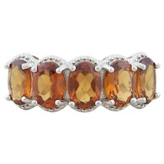 Sterling Silver Madeira Citrine Band Ring Size 8 1/4