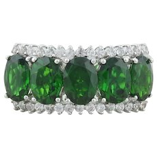 Sterling Silver Green Chrome Diopside Band Ring Size 9 1/4