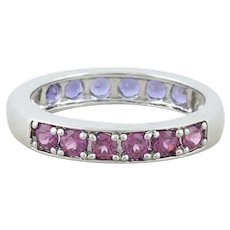 Reversible Sterling Silver Pink and Purple Tourmaline Band Ring Size 10 1/4