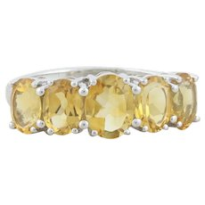 Sterling Silver Citrine Band Ring Size 9 1/4