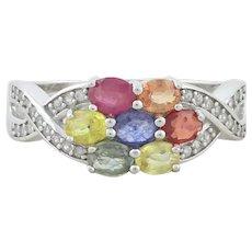 Sterling Silver Multi Color Topaz  Ring Size 8 1/4
