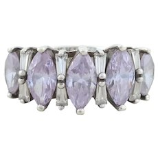 Sterling Silver Purple and White CZ Ring Size 7 1/4