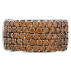 Sterling Silver Pave Citrine Band Ring Size 8