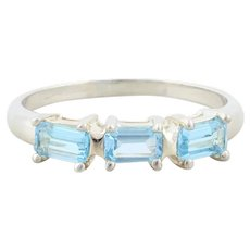 Sterling Silver Blue Topaz Band Ring size 8 1/4