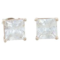 Gold Over Sterling CZ Earrings Stud Post Earrings