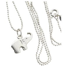 Sterling Silver Elephant Necklace 16 inch chain