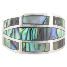 Sterling Silver Abalone Shell Ring size 5 1/2