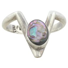 Sterling Silver Abalone Shell Ring Chevron Ring size 5 1/2