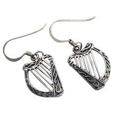 Sterling Silver Harp Dangle Drop Earrings