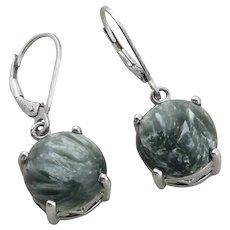 Sterling Silver Tree Agate Earrings Dangle Drop Earrings