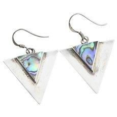 Sterling Silver Abalone Shell Triangle Earrings Dangle Drop Earrings