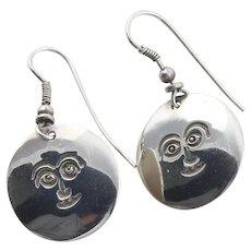 Sterling Silver Happy Sun Face Earrings Dangle Drop Earrings