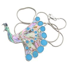 Sterling Silver Abalone Shell and Turquoise Peacock Necklace 18 inch chain