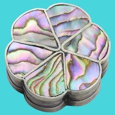 Sterling Silver Abalone / Tobacco/ Pill Box /Trinket Box or Boudoir Box