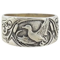Mens Sterling Silver Duck Band Ring size 12 1/4