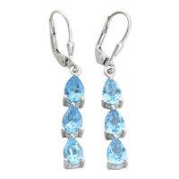 Sterling Silver Blue Topaz Earrings Dangle Drop Earrings