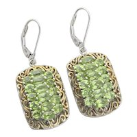 Sterling Silver Peridot With Gold Accents Earrings Dangle Drop Earrings