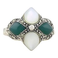 Sterling Silver Mother of Pearl, Green Onyx and Marcasite Ring Size 7