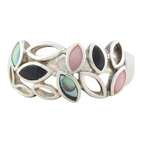 Sterling Silver Abalone, Pink Mother of Pearl and Black Onyx Ring size 9 1/4