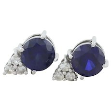 Sterling Silver Lab Created Blue Sapphire and White Topaz Earrings Stud Post Earrings